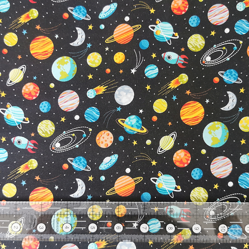 Makower Outer Space Planets Black