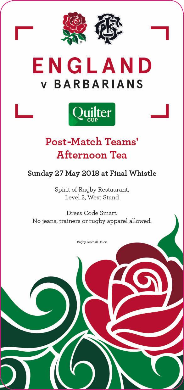 England v Barbarains Afternoon Tea Ticket 2018 AW