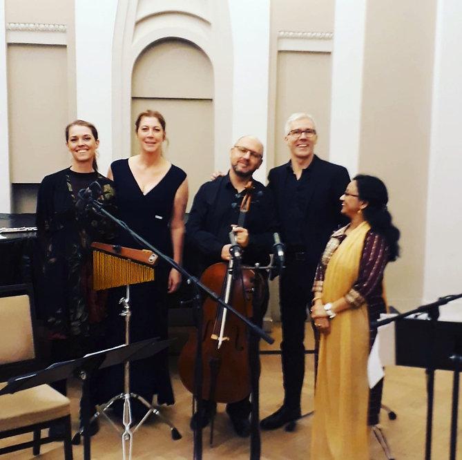 Sareidah Hildebrand. Karin Lovelius. Mattias Rodrick. Joakim Lundström. Suranjana Ghosh. Kaunas Philarmonic Hall. After the concert. Cello. Flute. Evening dress.