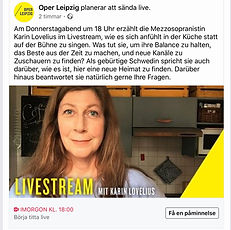 """Logo from Oper Leipzig togehter with text and a woman with brown hair standing in her kitchen""wearing"