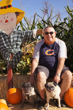 mike and dogs at pumpkin patch
