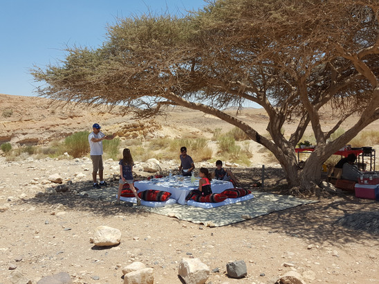 Surprise family lunch on a jeep tour in the middle of the Ramon Crater Desert