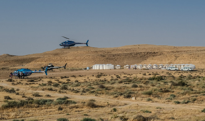 Helicopters & Glamping in the Israeli desert