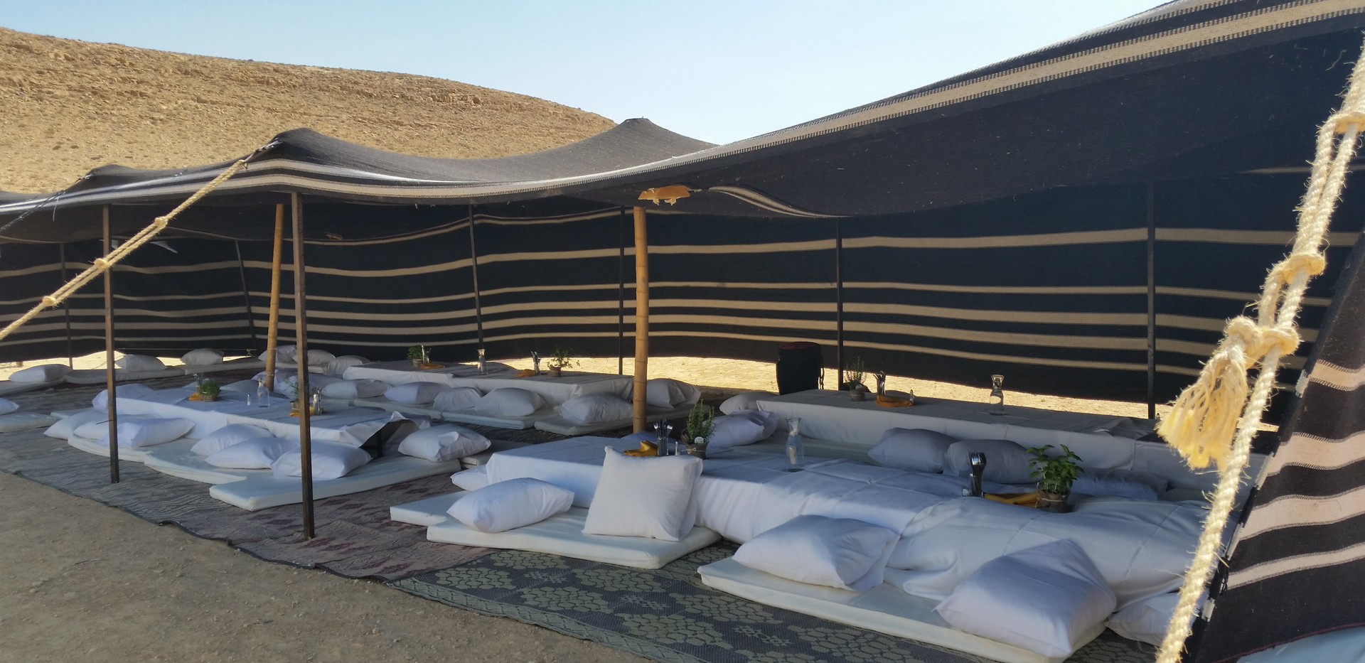 Desert style party setup in the Negev