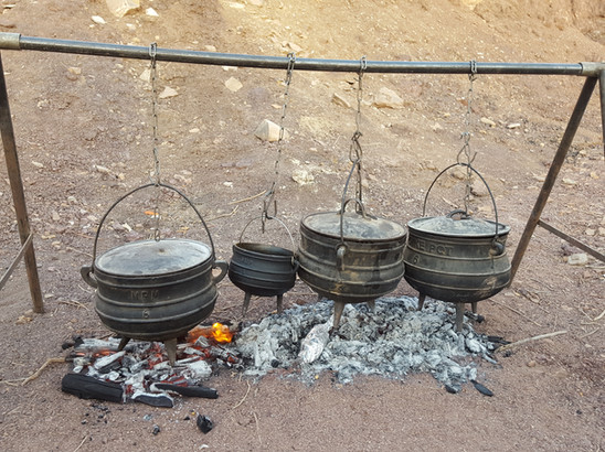 African Poike pots for a meal in Makhtesh Ramon Crater