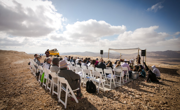 Desert Bar Mitzvah ceremony in Mitzpe Ramon Crater Israel