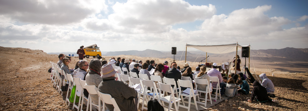 Desert Bar Mitzvah ceremony in Mitzpe Ramon Crater Israel