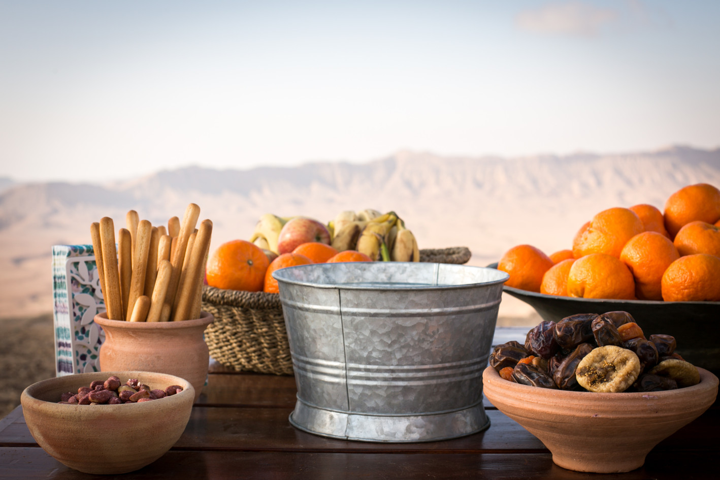 Snack table for an outdoor Bat Mitzvah celebration in MItzpe Ramon