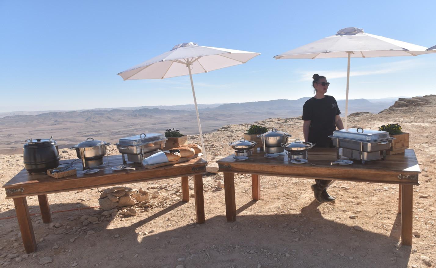 Outdoor meal in the Negev Desert Israel