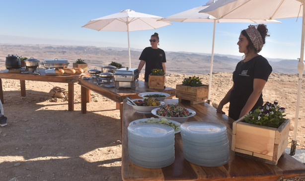 Festive lunch stop during an ATV tour in MItzpe Ramon in Israel