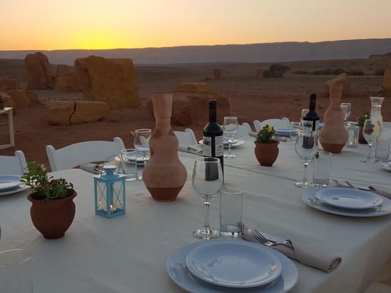 Sunset dinner in the Israeli desert