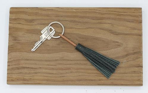 Porte-clés vert kaki grainé