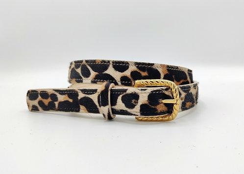 Ceinture en poils imprimé léopard
