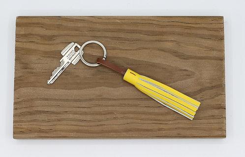 Porte clés pompon jaune vif