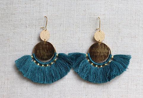 Boucles d'oreilles pompons bleu canard