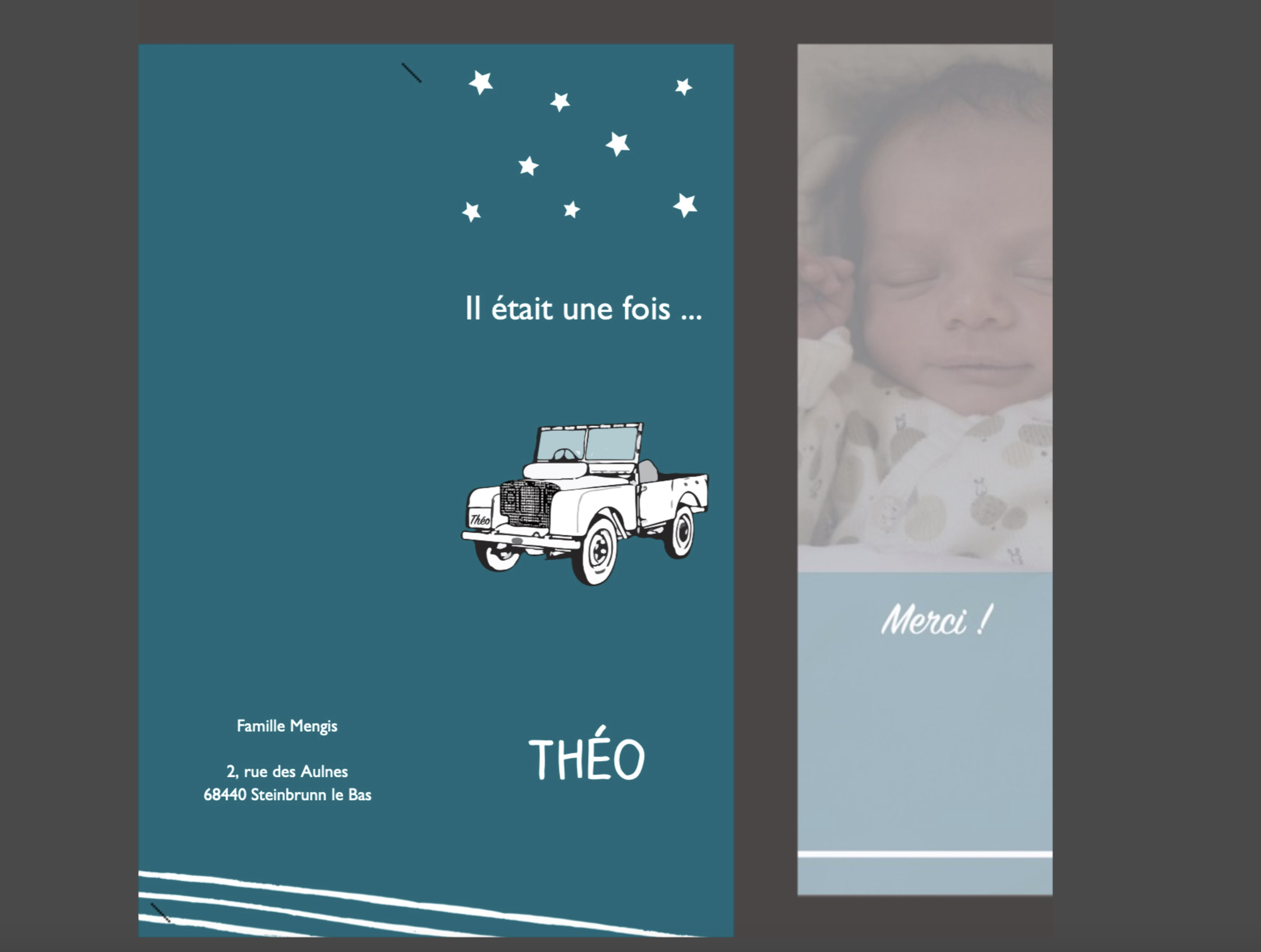 Faire part naissance anais claude création Webdesign vosges infographie