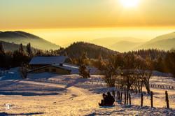 Les merveilleuses couleurs de l'hiver au Ballon d'Alsace avec vue sur les Alpes Suisses et le Mont B