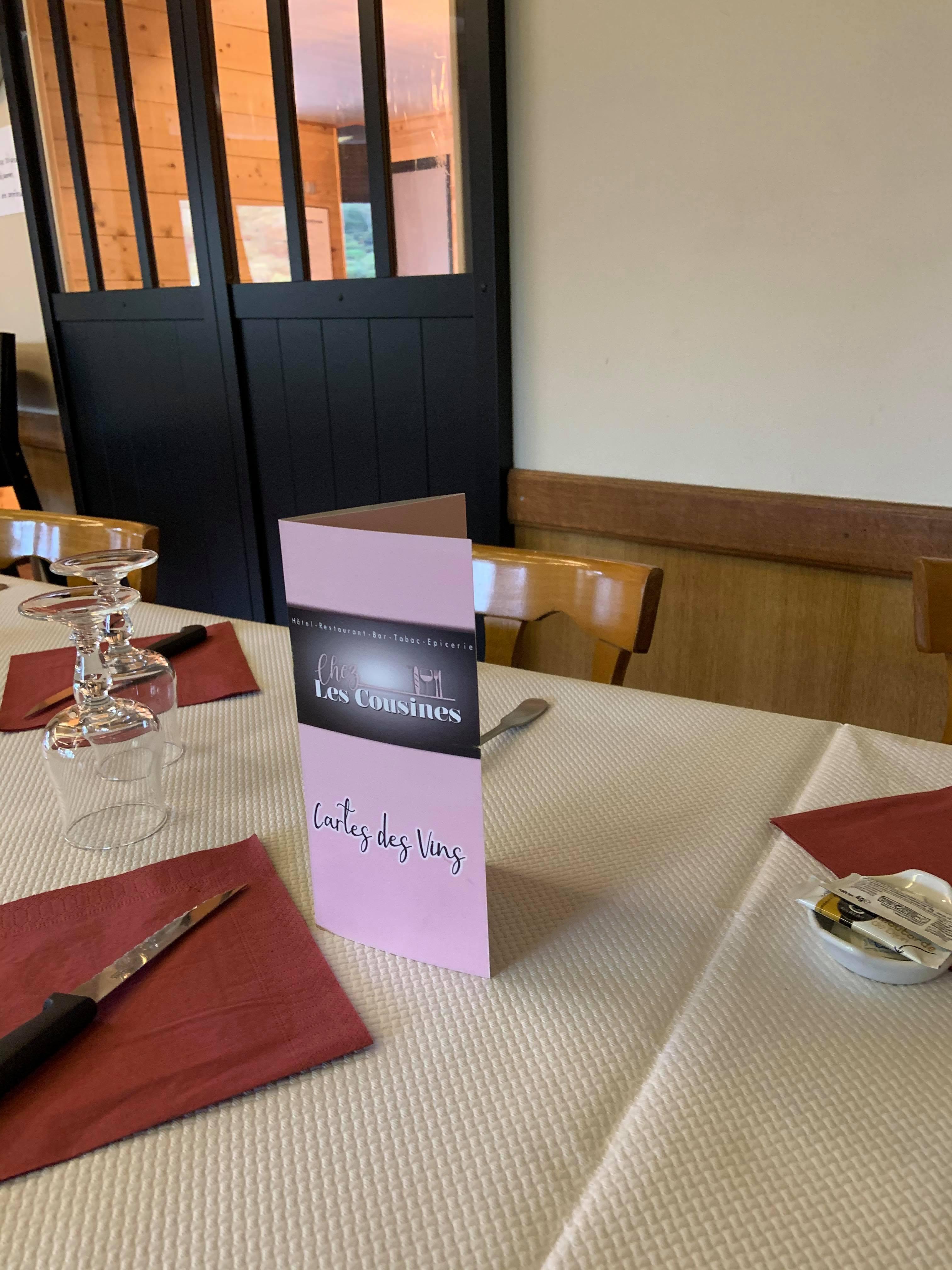 Chez les Cousines Hotel Bar Restaurant Tabac Epicerie du centre Fresse Sur Mosellecarte vins cousine