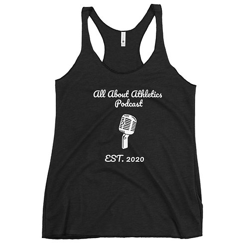 All About Athletics Podcast Women's Racerback Tank