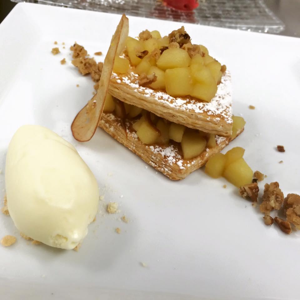 Apple Napoleon with Moscato Icecream