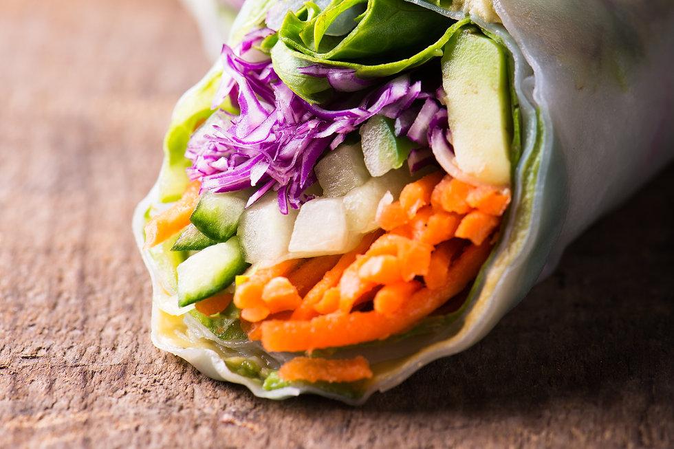 close up of fresh and vegan rice paper s