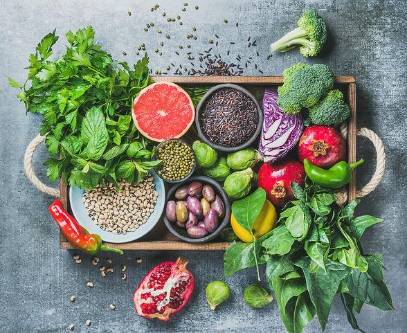 Vegetables, fruit, seeds, cereals, beans