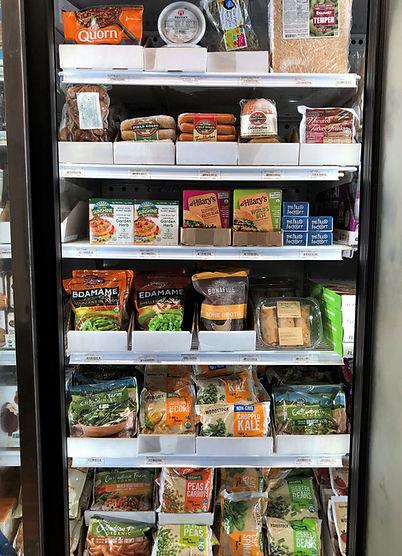 frozen vegetables, veggie burgers, tempeh