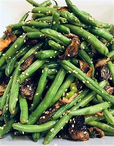 Sesame green beans with shitake mushroo