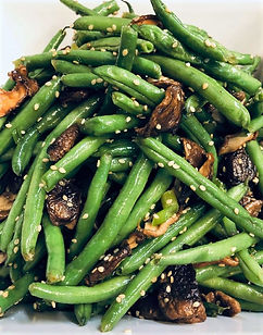 Sesame green beans with shitake mushroo