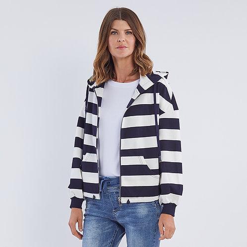 Marine Stripe Zip Hoodie