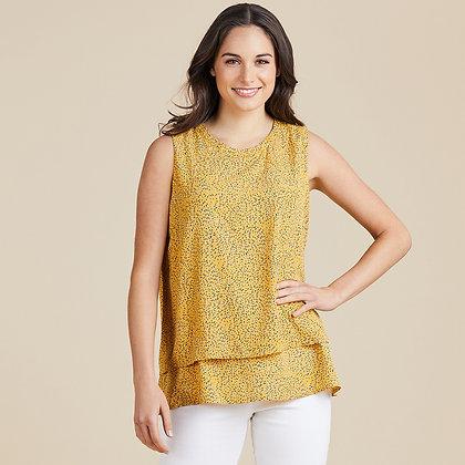 Gold Print Sleeveless Top