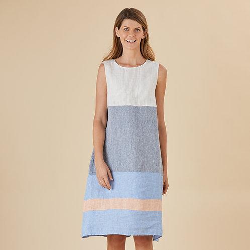 Athena Spliced Linen Dress