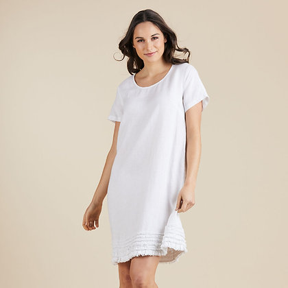 Linen Ruffle Hem Dress