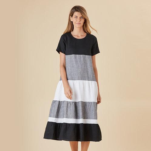 Stay In Line Linen Dress