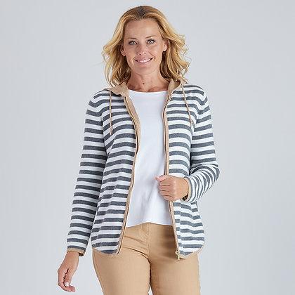 Knit Stripe Zip Hoodie