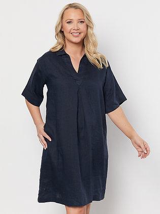Collared Linen Dress