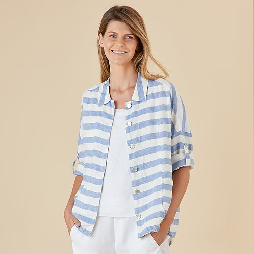 Into The Blue Stripe Linen Jacket