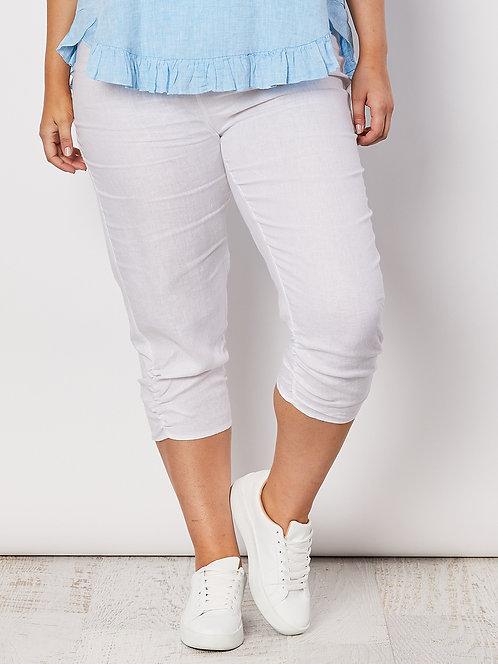Ruched Hem Linen Pant