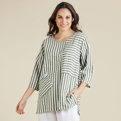 Butcher Striped Panelled Top