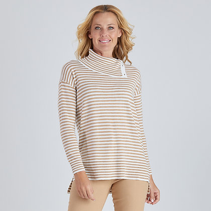 Button Neck Stripe Knit