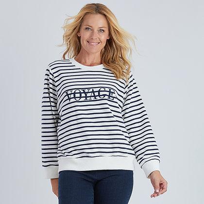 Voyage Embroidered Stripe Sweat