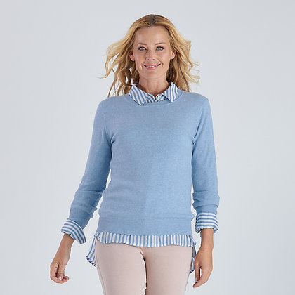 Scalloped Crew Neck Knit