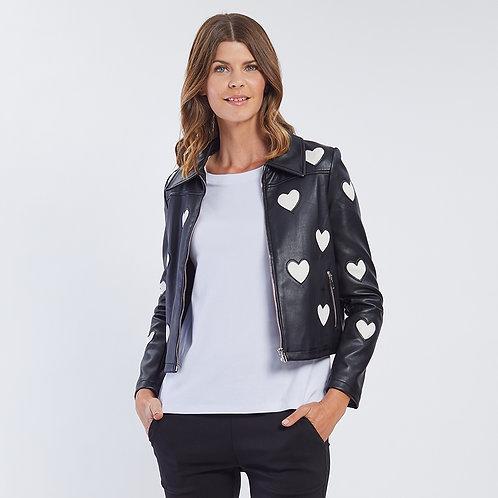 Love Heart Faux Leather Jacket