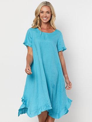 Frilled Hem Linen Dress