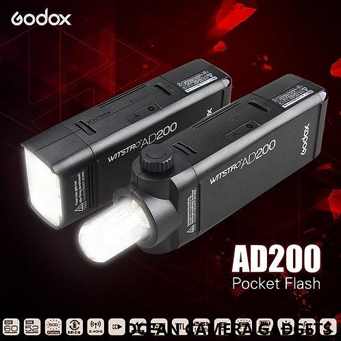 Godox AD200 Pocket Flash Portable Mini TTL Speedlite with 2 Light Heads HSS