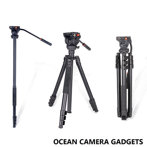 COMAN KX3939 Video Tripod with 360 Fluid Head for Camcorder and DSLR Camera