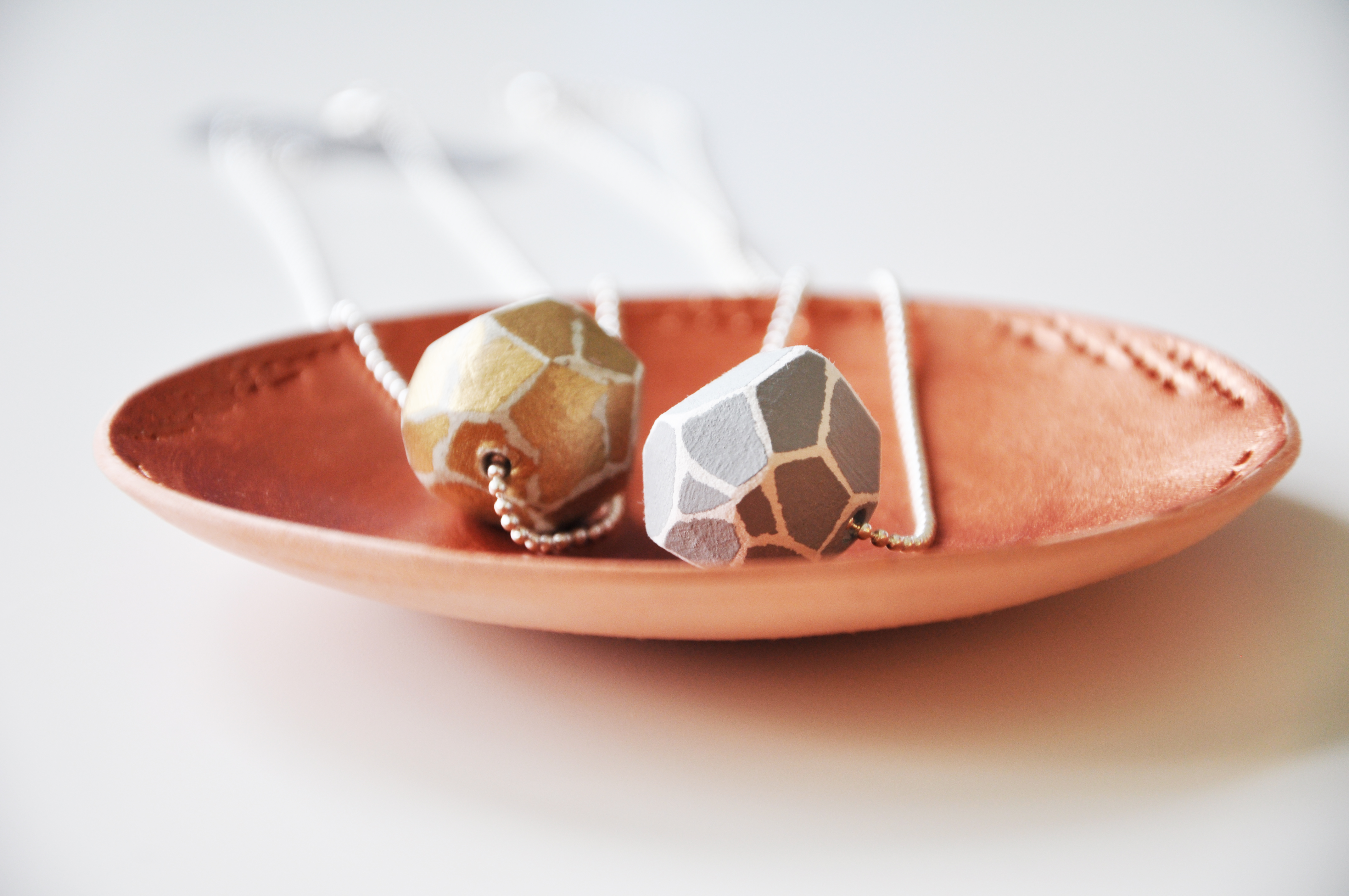 Terracotta jewellery dish and GEO bead necklaces