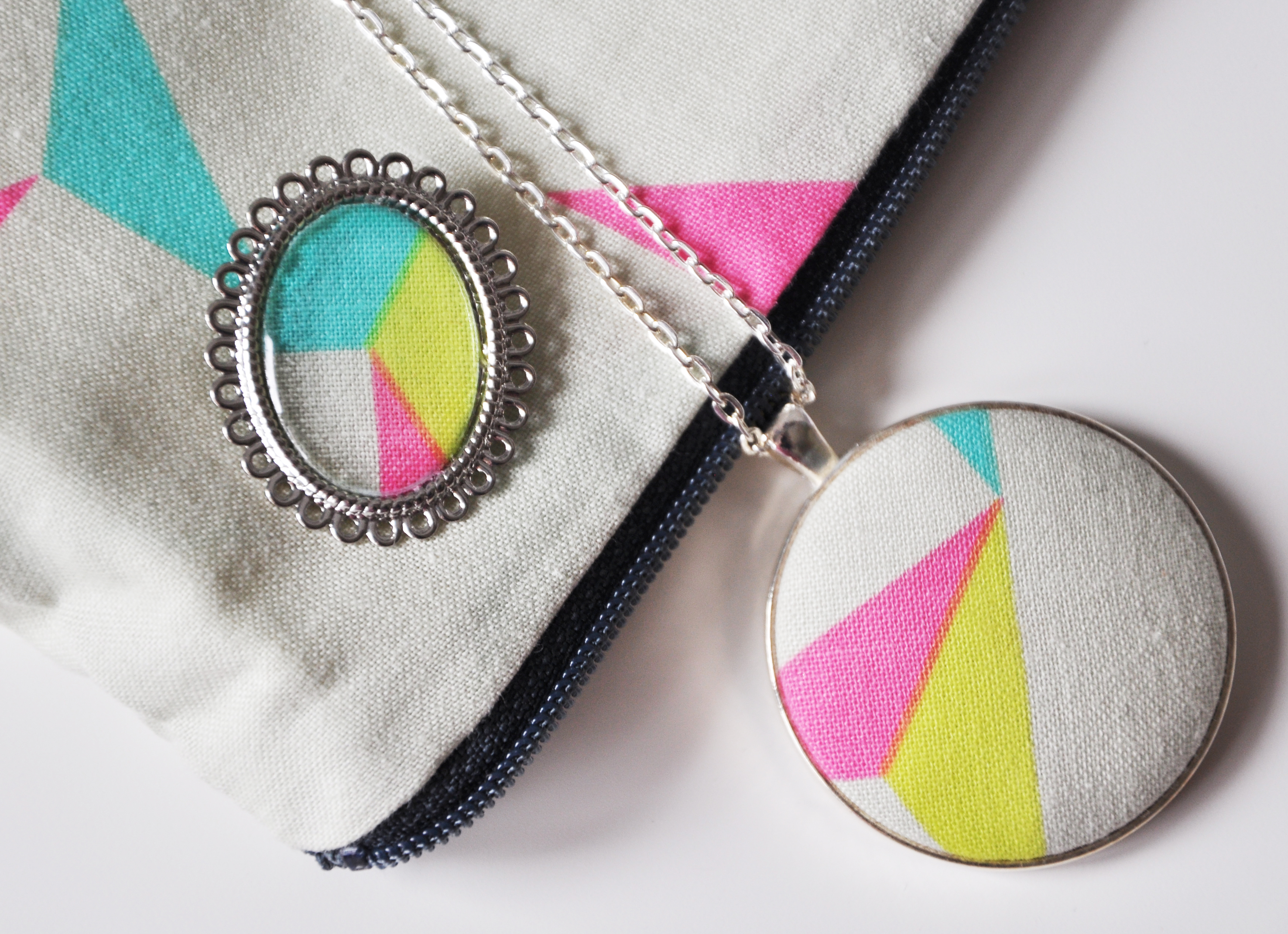 Geometric fabric set brooch, zip pouch and FAB pendant