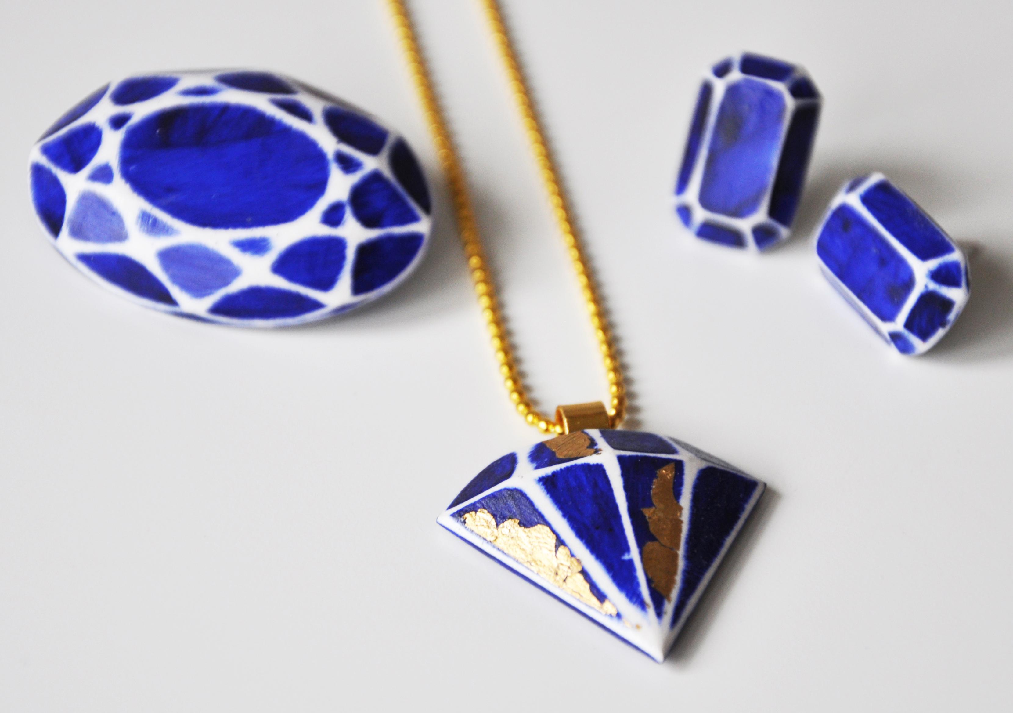 Constellation range cast stone plaster brooch, gem studs and gem pendant with 24ct gold leaf