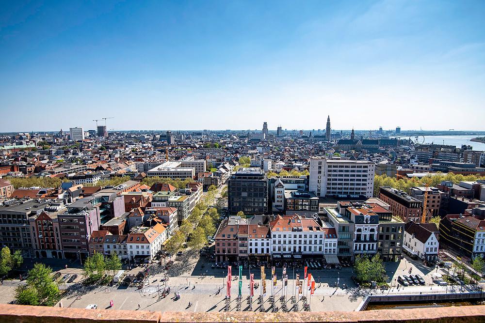 Aussicht auf Antwerpen vom Museum am Strom